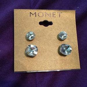 NWT Monet Silver Tone Cubic Zirconia Like Earrings